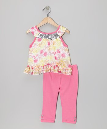 2B Real Pink Floral Yoke Tunic & Pants - Infant, Toddler & Girls