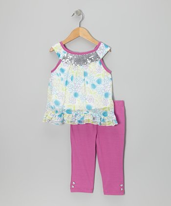 2B Real Raspberry Floral Yoke Tunic & Pants - Infant, Toddler & Girls