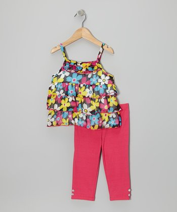 Black Floral Ruffle-Tier Tunic & Pink Pants - Infant & Toddler