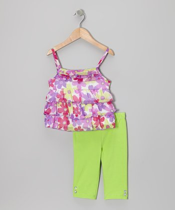 Purple Floral Ruffle Tier Tunic & Green Pants - Infant & Toddler
