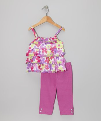 Raspberry Floral Ruffle-Tier Tunic & Pants - Infant & Toddler