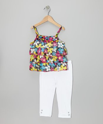 Black Floral Ruffle-Tier Tunic & White Pants - Infant & Toddler