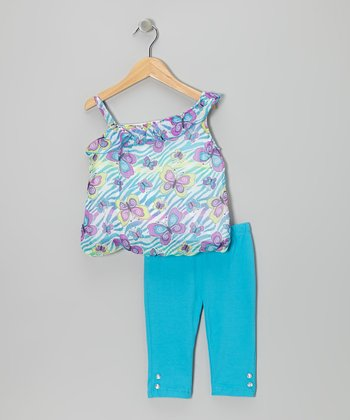 Blue Butterfly Asymmetrical Tunic & Pants - Infant & Toddler