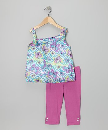 Raspberry Butterfly Asymmetrical Tunic & Pants - Infant & Toddler