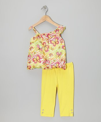 Yellow Butterfly Asymmetrical Tunic & Pants - Infant & Toddler