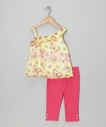 Pink Butterfly Asymmetrical Tunic & Pants - Infant & Toddler