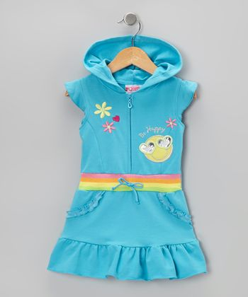 Blue 'Be Happy' Ruffle Romper - Infant, Toddler & Girls