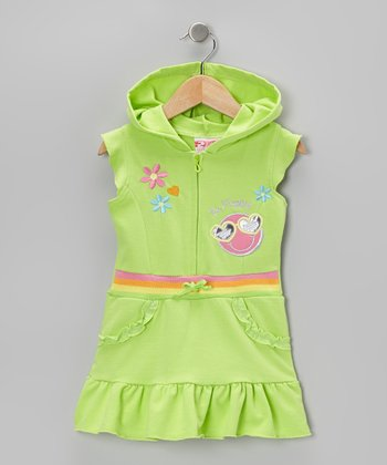 Green 'Be Happy' Ruffle Romper - Infant, Toddler & Girls