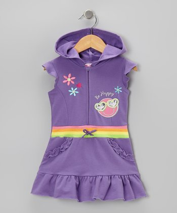 Purple 'Be Happy' Ruffle Romper - Infant, Toddler & Girls