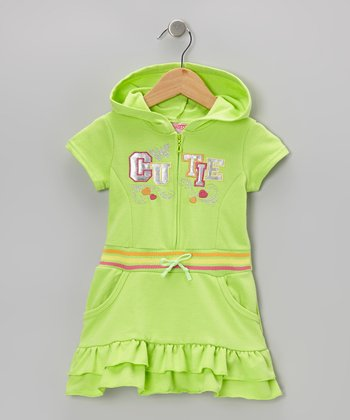 Green 'Cutie' Ruffle Romper - Infant, Toddler & Girls
