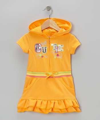 Orange 'Cutie' Ruffle Romper - Infant, Toddler & Girls