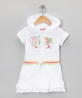 White 'Cutie' Ruffle Romper - Infant, Toddler & Girls