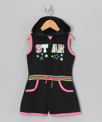 Black 'Star' French Terry Romper - Infant & Toddler