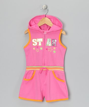 Pink 'Star' French Terry Romper - Infant & Toddler