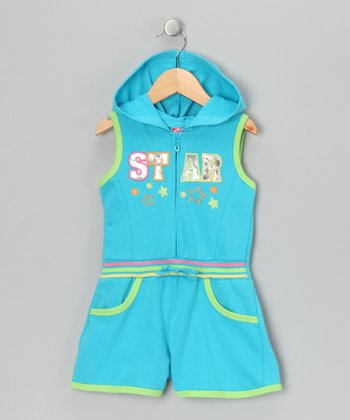 Turquoise 'Star' French Terry Romper - Infant & Toddler