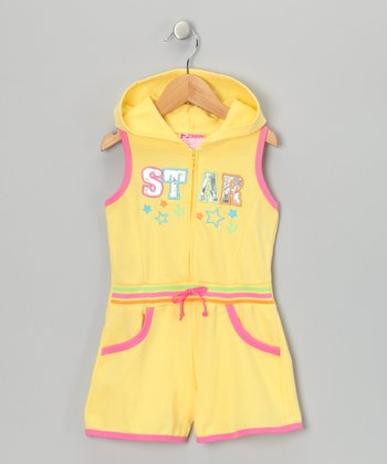 Yellow 'Star' French Terry Romper - Infant & Toddler
