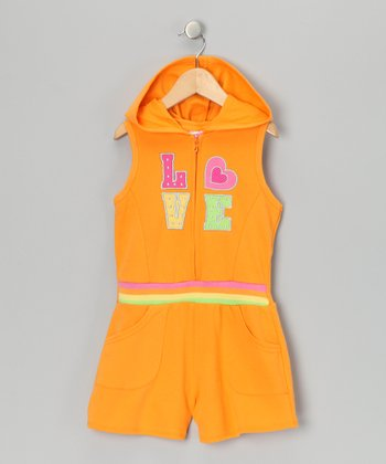 Orange 'Love' French Terry Romper - Infant & Toddler