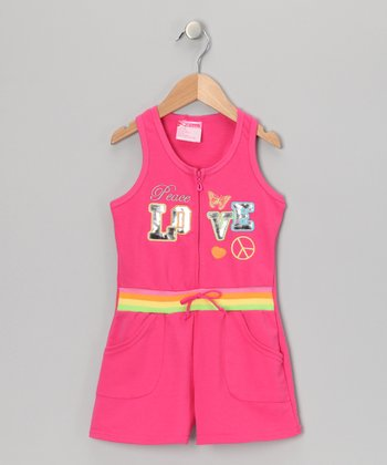 Pink 'Peace Love' French Terry Romper - Infant, Toddler & Girls