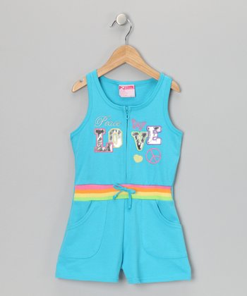 Aqua 'Peace Love' French Terry Romper - Infant, Toddler & Girls