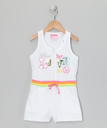 White 'Peace Love' French Terry Romper - Infant, Toddler & Girls