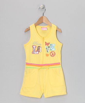 Yellow 'Peace Love' French Terry Romper - Infant, Toddler & Girls