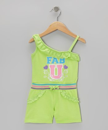 Green 'Fab U' Asymmetrical Romper - Infant, Toddler & Girls