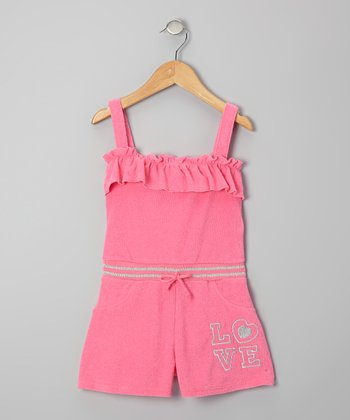 Pink 'Love' Ruffle Romper - Infant, Toddler & Girls