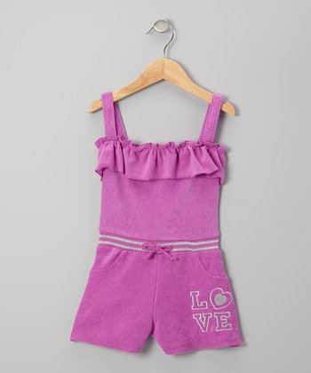 Purple 'Love' Ruffle Romper - Infant, Toddler & Girls