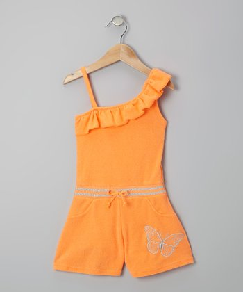 Orange Butterfly Asymmetrical Romper - Infant, Toddler & Girls