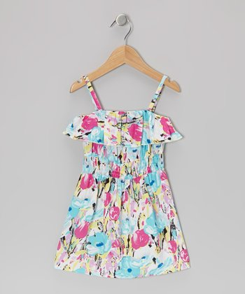 Blue Rose Ruffle Dress - Girls