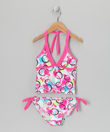 White & Pink Polka Dot Tankini - Girls