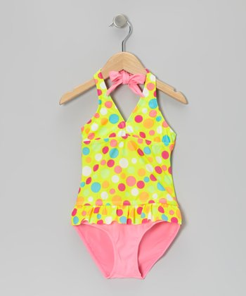 Green Polka Dot Tankini - Girls