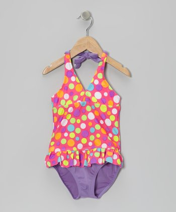 Pink Polka Dot Tankini - Girls