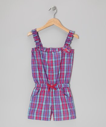 Pink & Blue Plaid Ruffle-Strap Romper - Girls