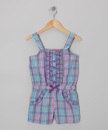 Blue Plaid Button Romper - Girls