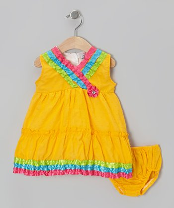 Yellow Surplice Dress - Infant & Toddler