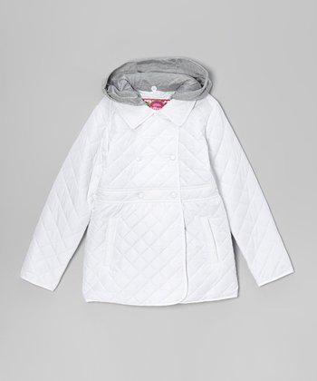 White Quilted Hooded Coat - Girls