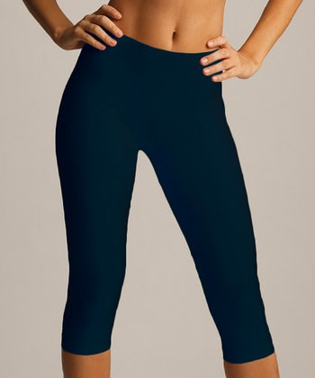 Black High-Waisted Capri Leggings - Women