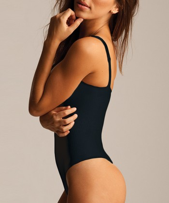 Black Shaper Thong Bodysuit - Women