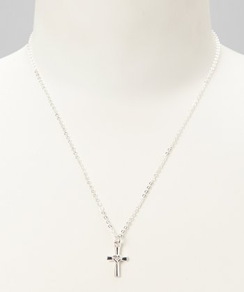 Silver 'He Is Love' Faith Pendant Necklace