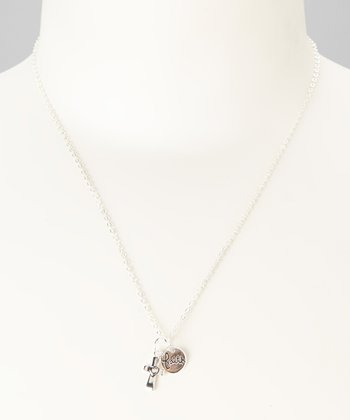 Sterling Silver 'Faith' & Cross Double Charm Necklace