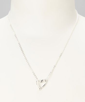 Sterling Silver 'Love Is Patient' Open Heart Pendant Necklace