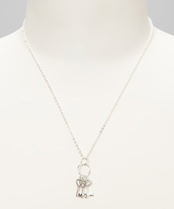 Sterling Silver 'Mom' Key Charm Necklace