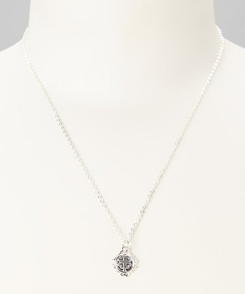 Sterling Silver 'Love, Luck, Happiness' Pendant Necklace