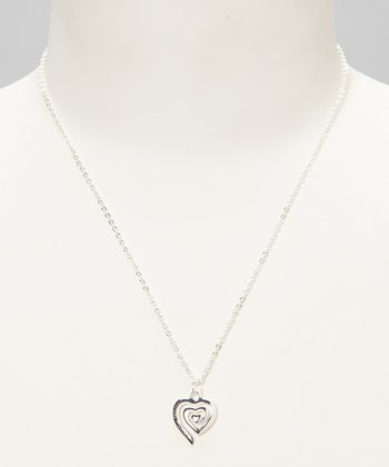 Sterling Silver 'Follow Your Heart' Pendant Necklace