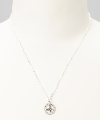 Sterling Silver 'Be the Change' Butterfly Pendant Necklace