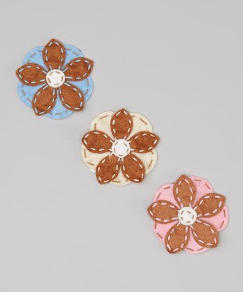 Pink & Brown Felt Flower Clip Set