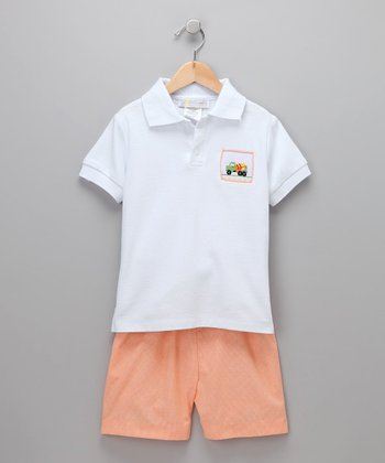 White Jeffrey Truck Polo & Shorts - Toddler & Boys