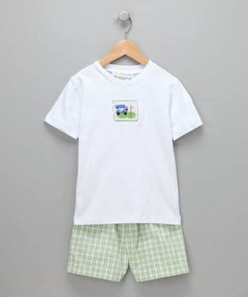 White Golf Cart Tee & Shorts - Toddler