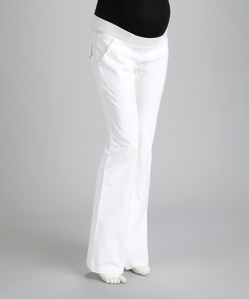 White Harrison Under-Belly Maternity Trouser Pants